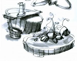 HOF DER BADER Zeichnung Badestubenelemente Detail